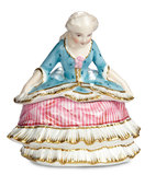 French Porcelain  Boudoir Box Depicting 18th-Century Lady in Curtsy Pose 300/500