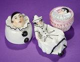 Trio of German Porcelain Pierrot and Pierrette Boudoir Objects 300/500