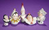 Five Miniature German Porcelain Pincushion Heads of Theatrical Figures 150/250