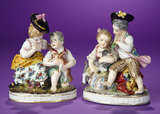 Pair of German Porcelain Miniature Figurines of Children with Pets by Dressel & Kister  400/700