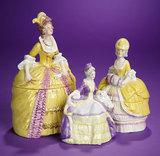 Trio of German Porcelain Dresser Boxes Depicting 18th Century Ladies 300/500