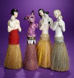 Four German Porcelain Half-Dolls as Whisk Brooms  200/300