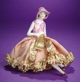 German Porcelain Half-Doll as Flapper on Original Pincushion Base 150/250