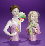 Pair, German Porcelain Wigged Half-Dolls with Stylish Flapper Costumes 150/250