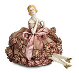 German Porcelain Half-Doll with Original Pincushion Skirt 150/250