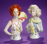 Pair, German Porcelain Wigged Half-Dolls 150/200