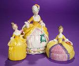 Trio of German Porcelain Ladies as Dresser Jars 300/500
