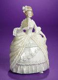 German Porcelain Lady with Fan in Ballgown as Dresser Jar 150/250