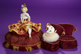 German Porcelain Half-Doll on Original Sewing Box Lid, with Puppy Pincushion 300/500