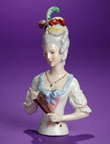German Porcelain Lady with Plumes and Jewelry 100/200