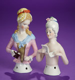 Two German Porcelain Half-Dolls Depicting Ladies with Binoculars or Love Letter 250/350