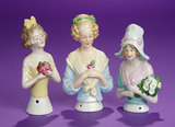 Three German Porcelain Half-Dolls with Clasped Hands 200/400