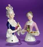 Two German Porcelain Half-Dolls with Accessories  200/400