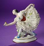 German Porcelain Ballerina with Dresden Lace Skirt by Ernst Bohne Sohne 200/300