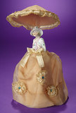 German Porcelain Half-Doll with Unusual Attached Parasol 200/300