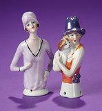 Two German Porcelain Half-Dolls as Flapper Ladies  200/300