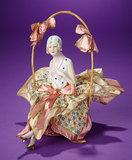 German Porcelain Half-Doll as Flapper Lady in Original Costume 300/400
