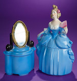 German Porcelain Lady as Dresser Jar with Matching Mirror Jar 150/250