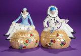 Pair, German Porcelain Pierrette and Pierrot as Dresser Jars 200/400