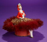 German Porcelain Half-Doll as Seated Flapper on Original Candy Box 300/500