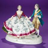 Fine German Porcelain Vignette Depicting 18th-Century Lady and Gentleman 200/400