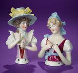 Two German Porcelain Half-Dolls including
