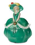 German Porcelain Lady in Green Gown as Dresser Jar 100/200
