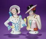 Two German Porcelain Half-Dolls in Very Unusual Costumes 150/250