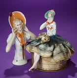 German Porcelain Half-Doll as Candy Container, with Similar Half-Doll 200/300