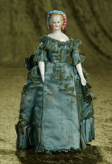 "10"" Rare Early German porcelain lady with sculpted feathered snood. $600/900"