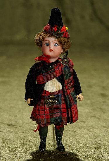 "6"" German bisque miniature doll by K*R in original Scottish costume. $300/500"