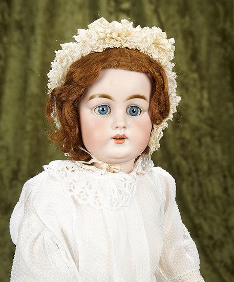 "25"" German bisque child, model 156 by Kestner with pristine original body. $700/900"