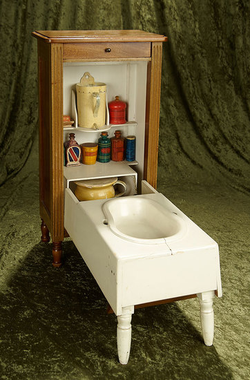 "19""h. Rare Salesman's Sample of Convertible Dresser/Baby Bathtub. $600/800"