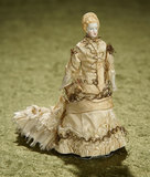 Tiny German Bisque Lady with Rare Sculpted Hair and Original Costume. $400/500
