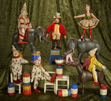 Collection American wooden circus animals, performers, accessories, Schoenhut circus. $900/1200
