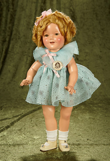 """Composition Shirley Temple by Ideal in Original Starburst Dress from """"Curly Top"""". $400/500"""