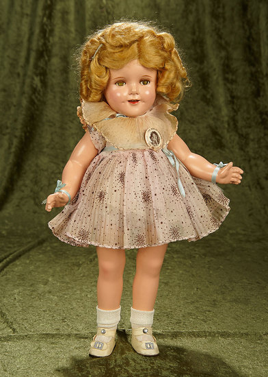 """18"""" Composition flirty-eyed Shirley Temple by Ideal in original costume. $500/700"""