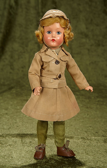 """14"""" Composition """"Suzette"""" by Effanbee in Military Costume. $150/200"""