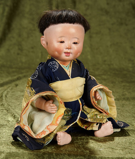 """15"""" Composition Japanese baby with original costume and wonderful dimples. $300/400"""