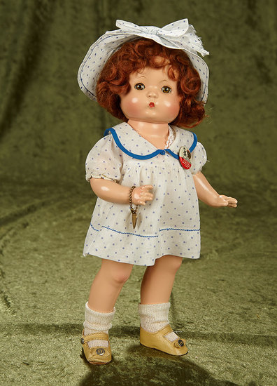 """14"""" Composition Patsy as """"Mary Lou"""" with sleep eyes, auburn wig and tagged costume. $400/500"""