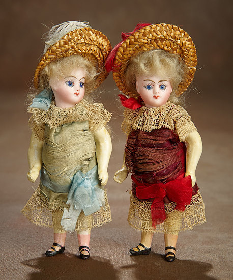 Pair, Petite French Sister Bebes in Original Costumes and Box 1200/1600