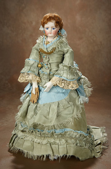 Gorgeous German Bisque Fashion Lady, Twill-over-Wooden Body by Simon and Halbig 3500/4500
