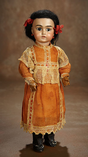Sonneberg Bisque Closed Mouth Doll with Glowing Cafe-Au-Lait Complexion 800/1100