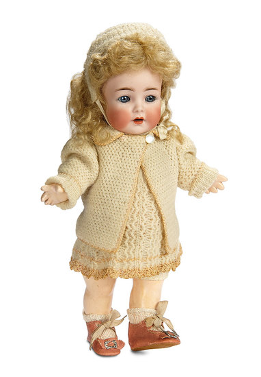 German Bisque Toddler in Wonderful Knit Costume by K*R 600/800