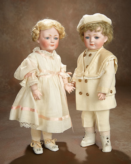 German Bisque Smiling Character, 189, with original Wig and G.A. Schwarz Label 1600/2100