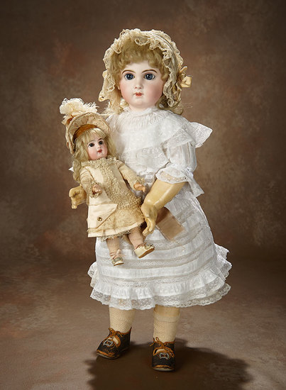 Outstanding French Bisque Bebe E.J. by Jumeau, Size 2, with Original Dress and Bonnet 4500/6500