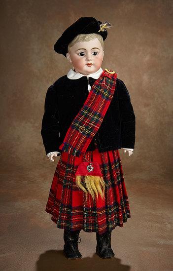 "German Bisque ""American Schoolboy"" in Original Superb Scottish Costume 500/700"