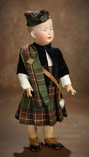 German Bisque Fretful Character, 7759, by Gebruder Heubach in Scottish Costume 700/900