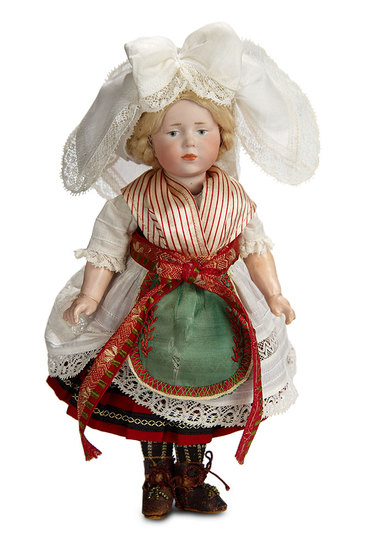 "German Bisque Pouting Child, ""Marie"", 101, Kammer and Reinhardt in Original Costume 1200/1500"