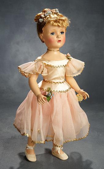 "Exquisite ""Nina Ballerina"" in Pink Satin with Gold Rick-Rack, 1951 700/900"